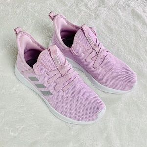 Girls Adidas Cloudfoam Pink & Silver Sneakers